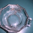 Small Glass Bowl with Silver Flower Designs #300359