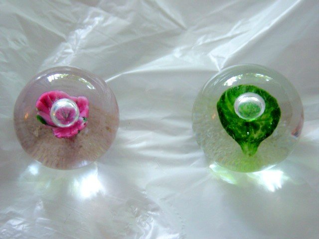 Two Clear Miniature Paperweights with Rosette Centers #300185