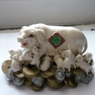 Mother Pig and Piglets on Bed of Gold Ingots and Coins #300109