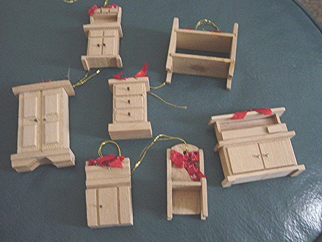 Set of Seven Hand Made Wooden Furniture Christmas Ornaments #300586