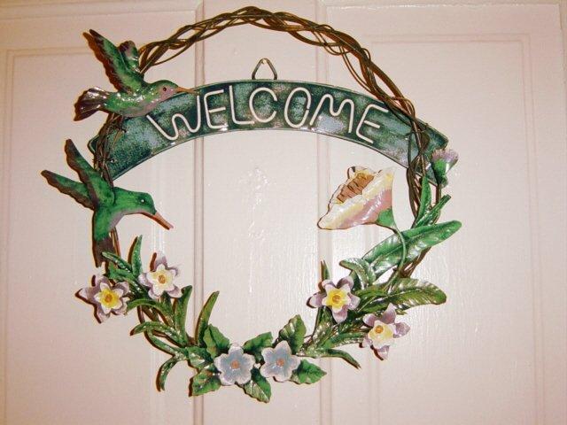 Hummingbirds And Flowers Design Metal Welcome Wreath Door