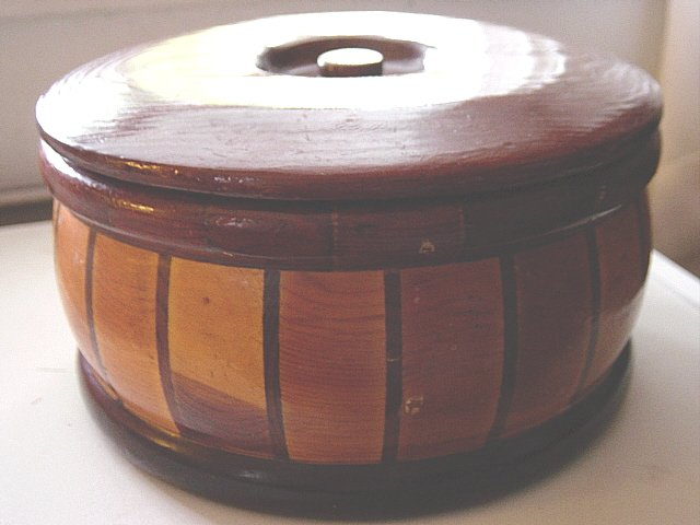 Round California Redwood Forest Wooden Box #300606