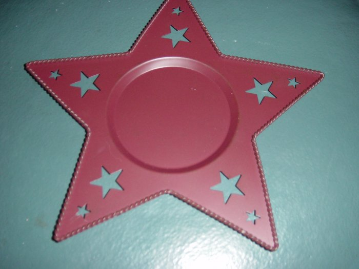 Rust Red Star Design Metal Candleholder  at Periwinkles #300622