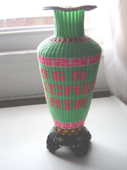 Collectors Green and Pink Vase Chicago Fair Vintage 1960 #300641