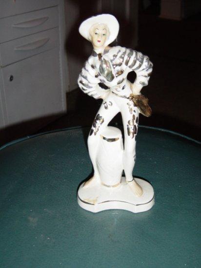 L&M Latin Bongo Playing Man White and Gold Figurine #300644