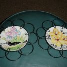 Two Hand Painted Birds and Flowers Plates in Wire Holders #300693