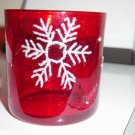 Red Glass Christmas Holiday Candle Holder with Snowflake #300752