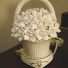 Beautiful White Porcelain Basket of Flowers Night Light at Periwinkles  #300786