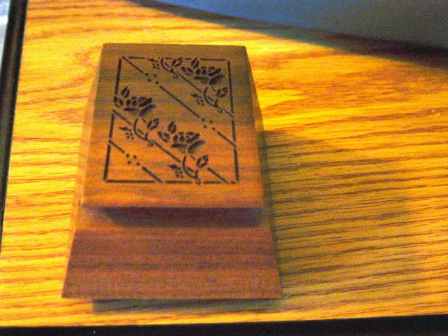 1985 Lasercraft Wooden Stamp Dispenser with Engraved Flowers  #300849