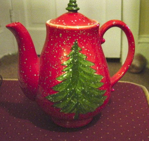 Christmas Tree Teapot: Red Porcelain Christmas Teapot With Tree And Falling Snow