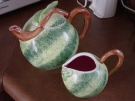 Large Green and Pink Watermelon Teapot and Creamer #300920