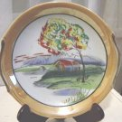 Vintage Hand Painted Lusterware Asian Scene Collector Plate  #300928