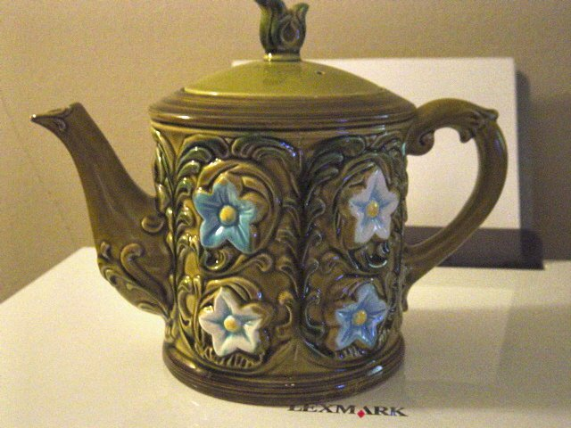 Vintage Green Porcelain Turquoise and White Flowers Teapot No. 6457   #300943