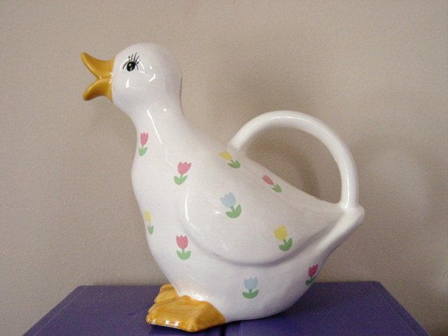Enesco White Porcelain with Tulips Duck Pitcher  #300946