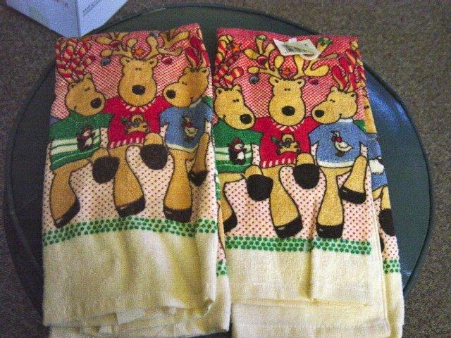 Christmas Holiday Dancing Reindeer Tea Towel  #300969