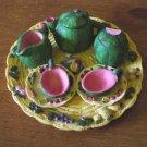 Miniature Melon Tea Set Tray, Teapot, Creamer, Sugar Bowl, Cups and Saucers #300972