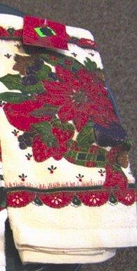 Christmas Poinsettia Kitchen Tea Towel at Periwinkles   #300988