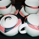 Transition Mikasa Harlequin Red Cups & Saucers, Creamer and Sugar Bowl    #300989