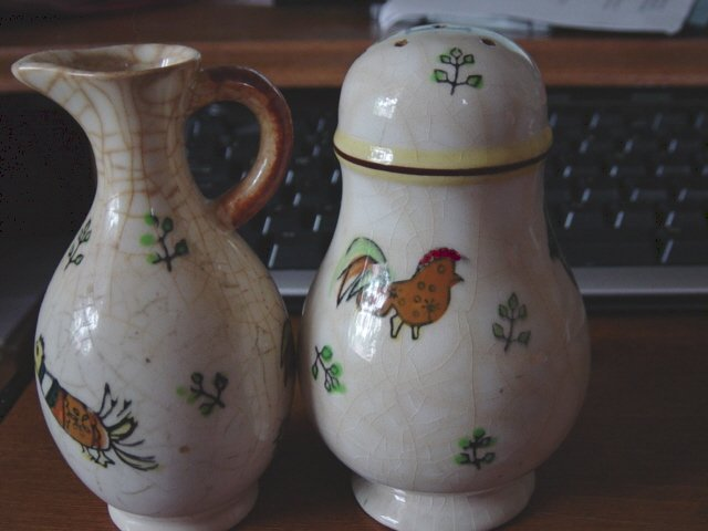 Very Old Made in Japan Shaker and Oil Jug #300991
