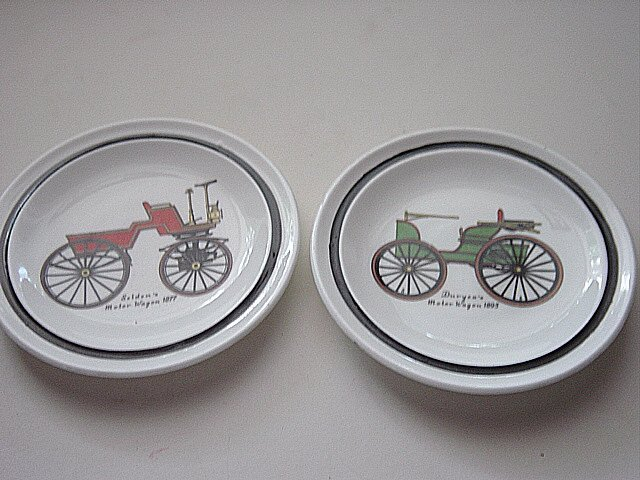 Set of Small Old Time Car Regency Bone China Plates Made in England  #300993