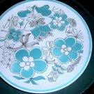Misaka Cera-Stone Symphony Platter Retro Turquoise Blue Flowers   #301011