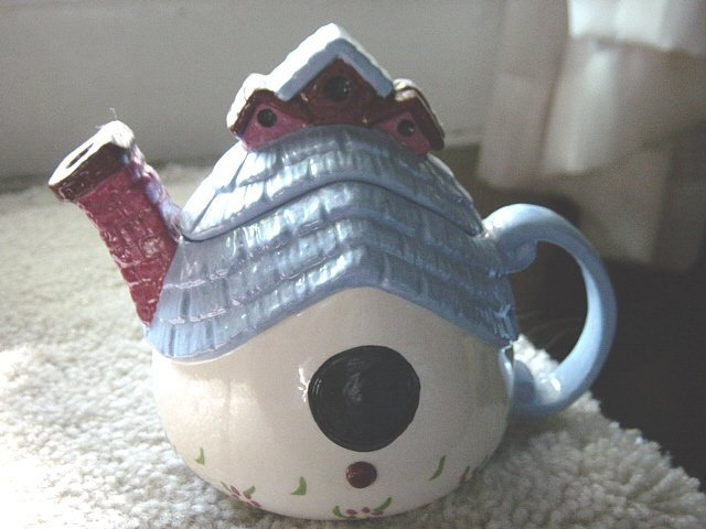 Small Blue White Country City Birdhouse Teapot #301015