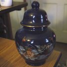 Beautiful Deep Blue Porcelain Peacocks and Flowers Ginger Jar  #301236