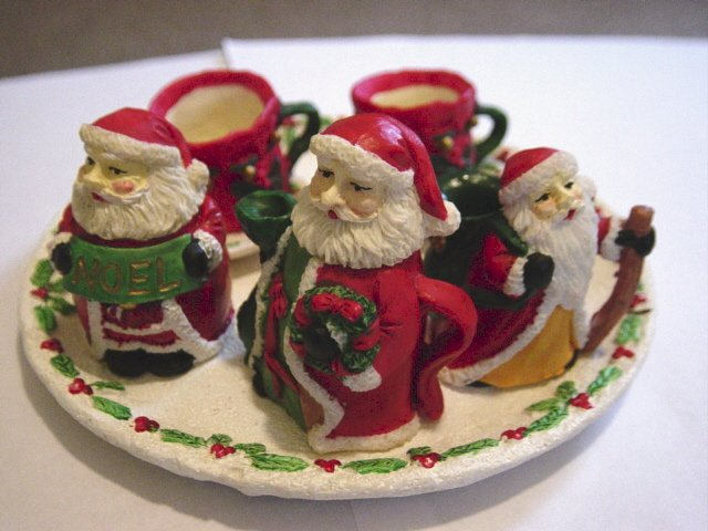 Santas of the World Miniature Tea Set Tray, Teapot, Creamer, Sugar Bowl, Cups and Saucers #301211