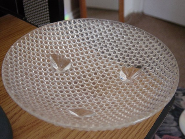 Vintage Footed Candy Dish Clear Small Bubble Glass  #301214