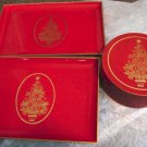 Gibson Greeting Cards Inc. Red Christmas Tree Coaster Set with Two Trays Otagiri Japan #301240