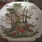 "7"" Asian OMC Two Peacocks in a Garden Six Sides Collector Plate #301262"