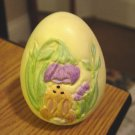 Decorative Yellow Ceramic Egg Bunny Smelling Lavender Flower #301284