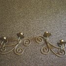 Vintage Pair Brass Wall Sconce Scroll Candleholders #301303