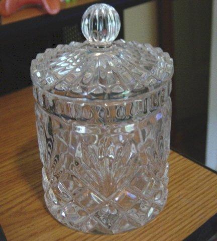 Vintage Clear Glass Palm Leaf Sunburst Design Jar Bottle #301314