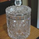 Vintage Clear Glass Palm Leaf Sunburst Design Jar Bottle #301314