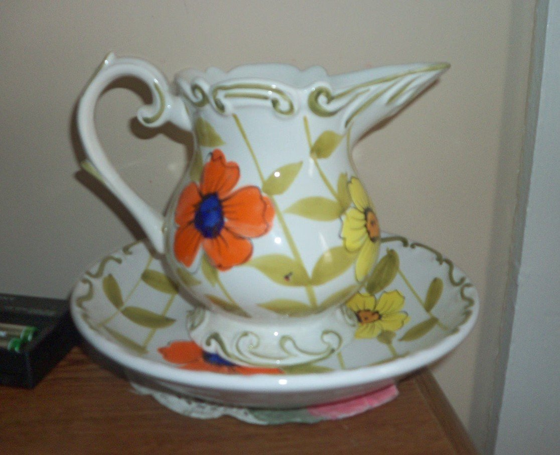 Vintage Lefton China Yellow and Orange Flowers Pitcher and Bowl  #301410
