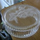 Glass Oblong Teleflora Trinket Box With Etched Rose On Lid  #301432
