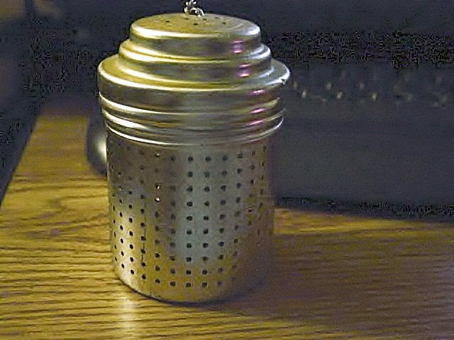"""3"""" Stainless Steel Tea Strainer with Measure in Lid    #300944"""