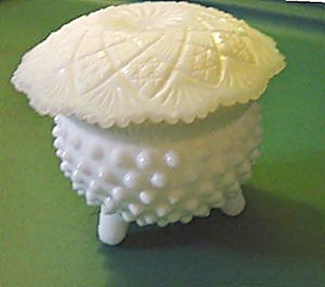 Vintage Fenton Milk Glass Hobnail Lidded Footed Bowl Jar #301485