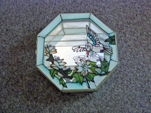 Vintage Octagon Glass Two Shelves Shadow Box with Painted Stain Glass Door and Mirror Back #301493