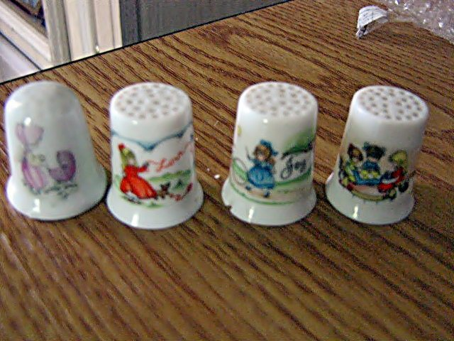 Set of Four Porcelain Thimbles Three Little Gallary Collection by Joan Walsh Anglund  #301509