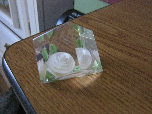 Hand Crafted Colored Encased White Flower Paperweight Crystal #301514
