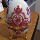 White Porcelain Egg with Elegant Burnt Red Decorations Trinket Box #301525