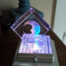 Small 3-D Laser Etched Glass Crystal Quarter Moon Cube and Silver Stand #301551