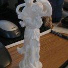 """Adalt 7"""" White Porcelain Asian Goddess Figurine with Lotus Blossom #301568"""