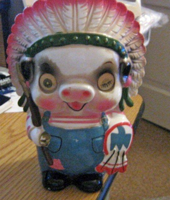 Old Vintage Native American Porky Pig Porcelain Piggy Bank #301569