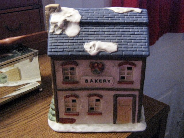 Beautiful Ceramic Bakery Building for Christmas or Winter Village #301590
