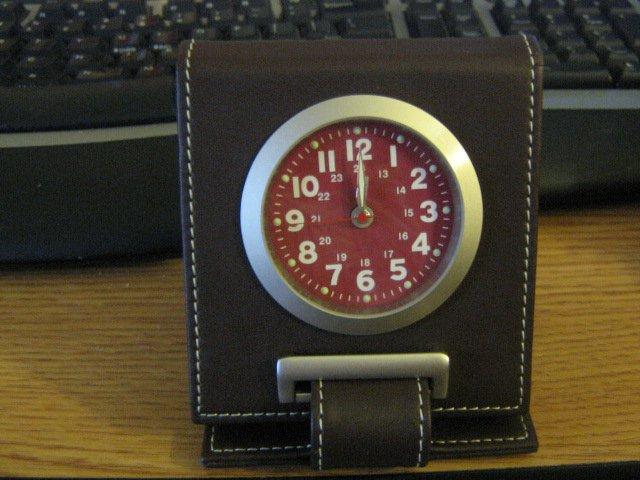 Square and Slim Wellgain MS-508 Dark Brown Quartz 24 Hour Travel Alarm Clock #301591