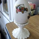 Hand Painted Porcelain Antique Ford Model T, Dion Bouton, Rolls Royce Egg on Pedestal  #301604