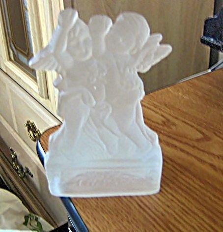 Dayton Hudson Corporation Frosted Glass Candleholder Angel Design  #301605